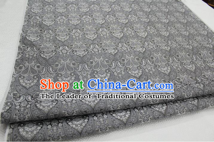 Chinese Traditional Royal Palace Pattern Mongolian Robe Grey Brocade Cheongsam Fabric, Chinese Ancient Costume Drapery Hanfu Tang Suit Material