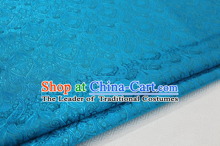 Chinese Traditional Royal Palace Pattern Mongolian Robe Lake Blue Brocade Cheongsam Fabric, Chinese Ancient Costume Drapery Hanfu Tang Suit Material