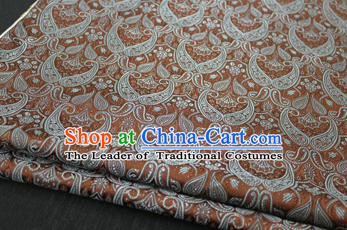 Chinese Traditional Royal Palace Pattern Mongolian Robe Coffee Brocade Cheongsam Fabric, Chinese Ancient Costume Drapery Hanfu Tang Suit Material
