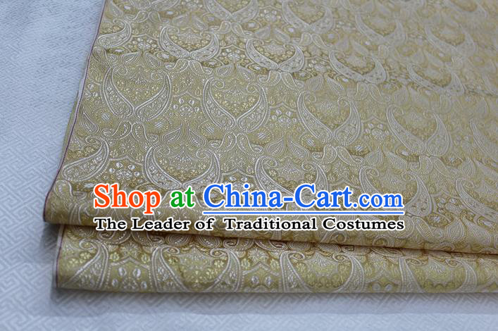 Chinese Traditional Royal Palace Pattern Mongolian Robe Light Golden Brocade Cheongsam Fabric, Chinese Ancient Costume Drapery Hanfu Tang Suit Material