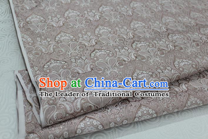 Chinese Traditional Royal Palace Pattern Mongolian Robe Champagne Brocade Cheongsam Fabric, Chinese Ancient Costume Drapery Hanfu Tang Suit Material