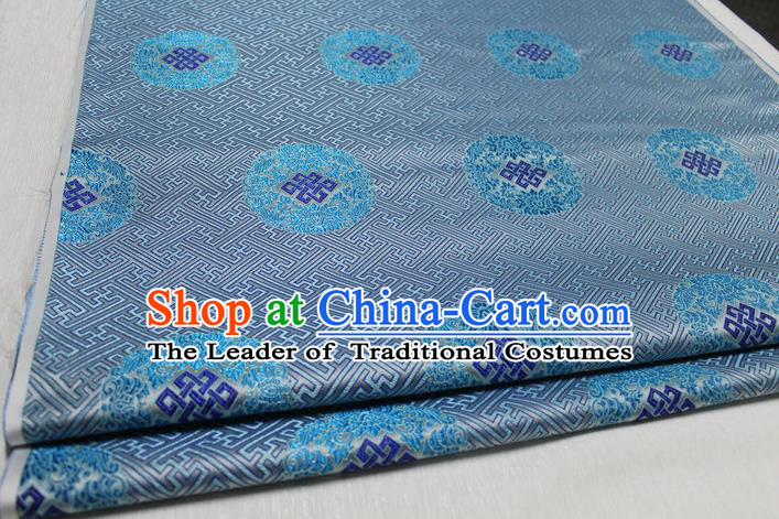Chinese Traditional Royal Palace Pattern Mongolian Robe Light Blue Tapestry Cheongsam Fabric, Chinese Ancient Costume Satin Hanfu Tang Suit Material