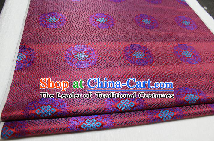 Chinese Traditional Royal Palace Pattern Mongolian Robe Red Tapestry Cheongsam Brocade Fabric, Chinese Ancient Costume Satin Hanfu Tang Suit Material