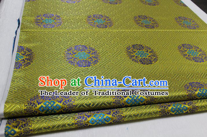 Chinese Traditional Royal Palace Pattern Mongolian Robe Green Tapestry Cheongsam Brocade Fabric, Chinese Ancient Costume Satin Hanfu Tang Suit Material