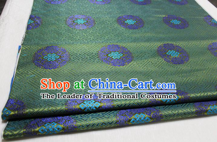 Chinese Traditional Royal Palace Pattern Mongolian Robe Deep Green Tapestry Cheongsam Brocade Fabric, Chinese Ancient Costume Satin Hanfu Tang Suit Material
