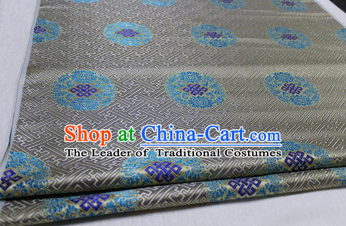 Chinese Traditional Royal Palace Pattern Mongolian Robe Grey Tapestry Cheongsam Brocade Fabric, Chinese Ancient Costume Satin Hanfu Tang Suit Material