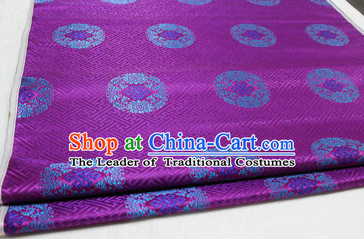 Chinese Traditional Royal Palace Pattern Mongolian Robe Purple Tapestry Cheongsam Brocade Fabric, Chinese Ancient Costume Satin Hanfu Tang Suit Material