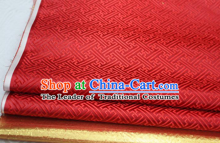 Chinese Traditional Royal Palace Pattern Mongolian Robe Red Brocade Fabric, Chinese Ancient Costume Satin Hanfu Tang Suit Material
