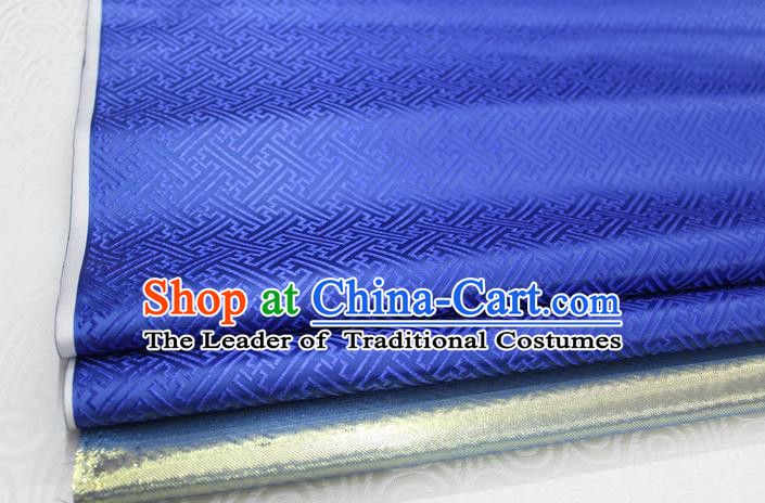 Chinese Traditional Royal Palace Pattern Mongolian Robe Royalblue Brocade Fabric, Chinese Ancient Costume Satin Hanfu Tang Suit Material