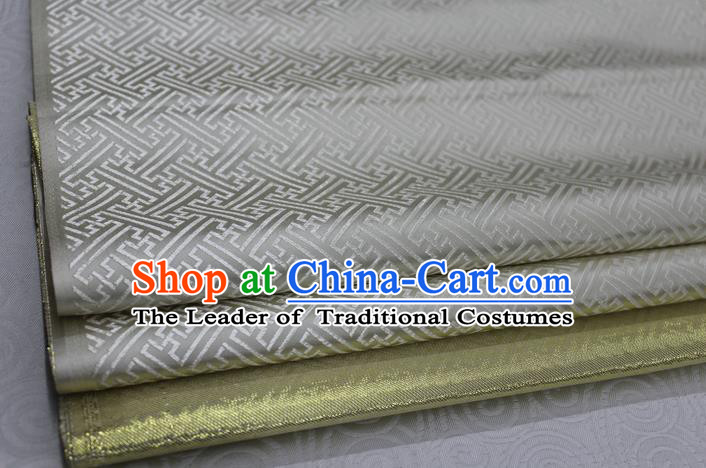 Chinese Traditional Royal Palace Pattern Mongolian Robe White Brocade Fabric, Chinese Ancient Costume Satin Hanfu Tang Suit Material