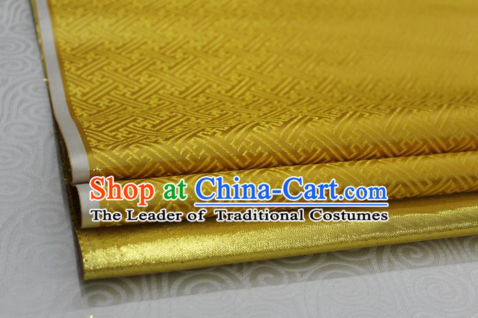 Chinese Traditional Royal Palace Pattern Mongolian Robe Golden Brocade Fabric, Chinese Ancient Costume Satin Hanfu Tang Suit Material