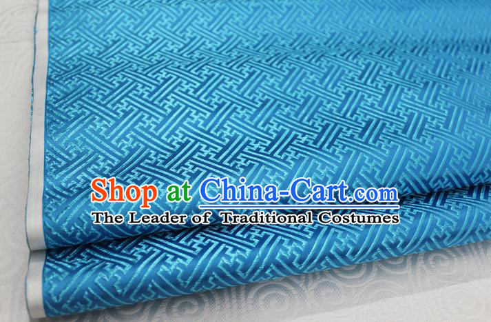 Chinese Traditional Royal Palace Pattern Mongolian Robe Light Blue Brocade Fabric, Chinese Ancient Costume Satin Hanfu Tang Suit Material