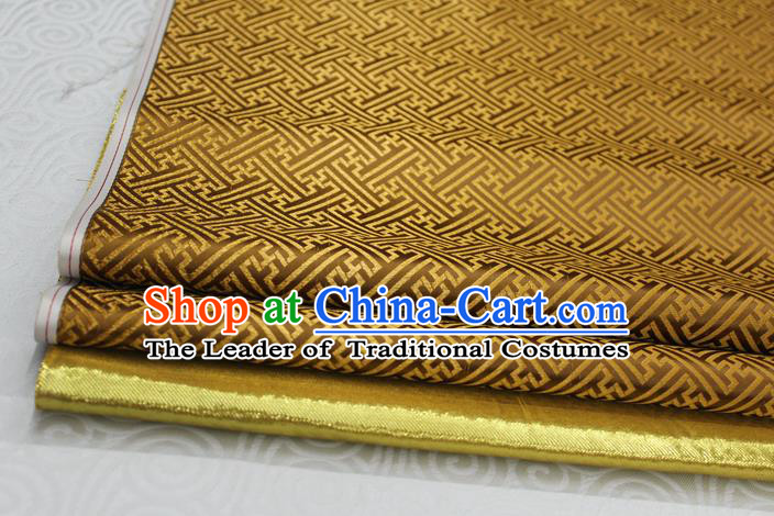 Chinese Traditional Royal Palace Pattern Mongolian Robe Mud Golden Brocade Fabric, Chinese Ancient Costume Satin Hanfu Tang Suit Material