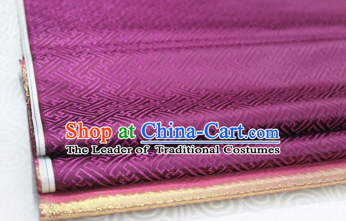 Chinese Traditional Royal Palace Pattern Mongolian Robe Purple Brocade Fabric, Chinese Ancient Costume Satin Hanfu Tang Suit Material