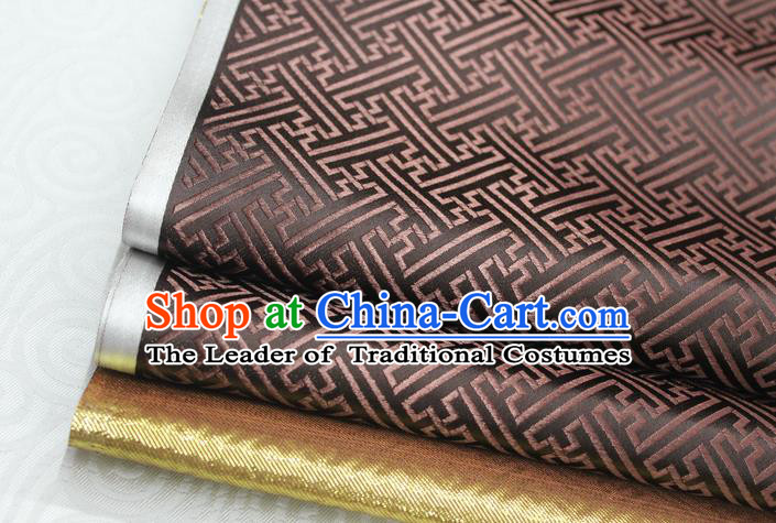 Chinese Traditional Royal Palace Pattern Mongolian Robe Brown Brocade Fabric, Chinese Ancient Costume Satin Hanfu Tang Suit Material