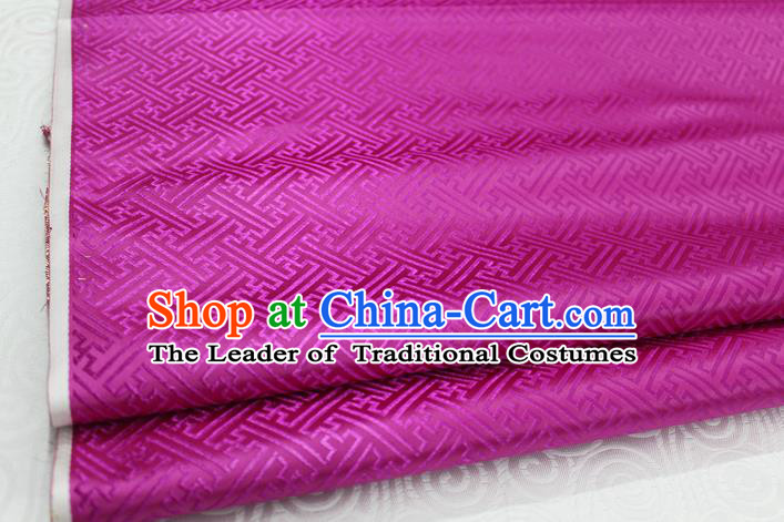 Chinese Traditional Royal Palace Pattern Mongolian Robe Rosy Brocade Fabric, Chinese Ancient Costume Satin Hanfu Tang Suit Material