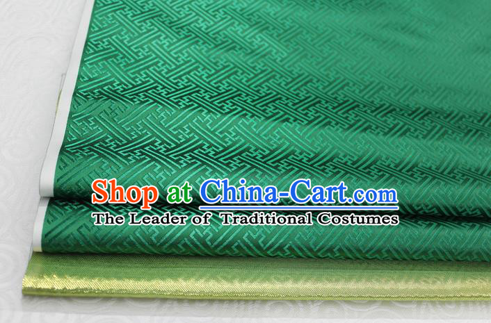 Chinese Traditional Royal Palace Pattern Mongolian Robe Deep Green Brocade Fabric, Chinese Ancient Costume Satin Hanfu Tang Suit Material