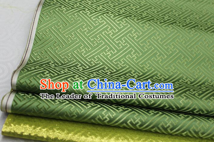 Chinese Traditional Royal Palace Pattern Mongolian Robe Green Brocade Fabric, Chinese Ancient Costume Satin Hanfu Tang Suit Material
