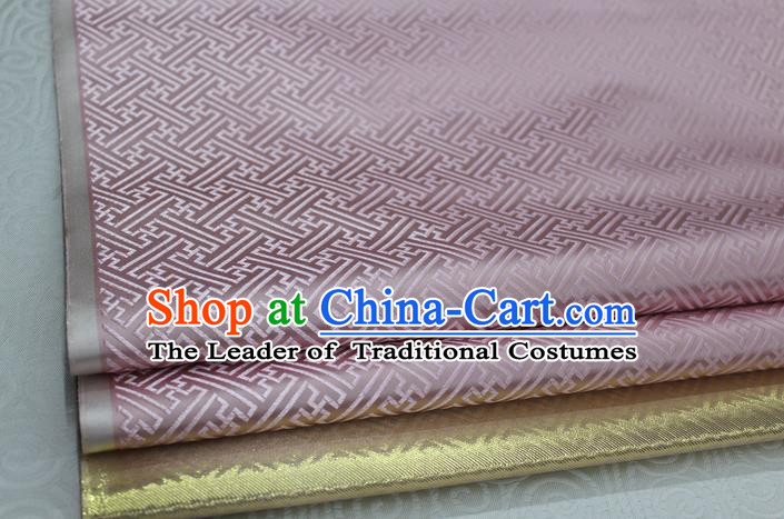 Chinese Traditional Royal Palace Pattern Mongolian Robe Pink Brocade Fabric, Chinese Ancient Costume Satin Hanfu Tang Suit Material