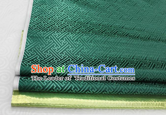 Chinese Traditional Royal Palace Pattern Mongolian Robe Atrovirens Brocade Fabric, Chinese Ancient Costume Satin Hanfu Tang Suit Material