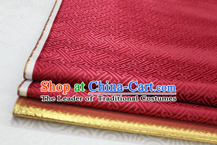 Chinese Traditional Royal Palace Pattern Mongolian Robe Purplish Red Brocade Fabric, Chinese Ancient Costume Satin Hanfu Tang Suit Material