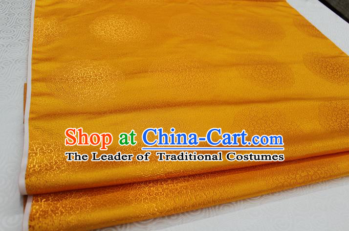 Chinese Traditional Royal Palace Mongolian Robe Golden Brocade Cheongsam Fabric, Chinese Ancient Costume Satin Hanfu Tang Suit Material