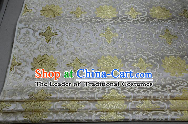 Chinese Traditional Royal Palace Golden Rich Flowers Pattern White Brocade Cheongsam Fabric, Chinese Ancient Costume Satin Hanfu Tang Suit Material