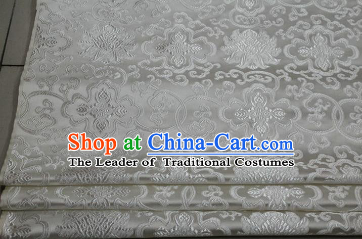 Chinese Traditional Royal Palace Rich Flowers Pattern White Brocade Cheongsam Fabric, Chinese Ancient Costume Satin Hanfu Tang Suit Material