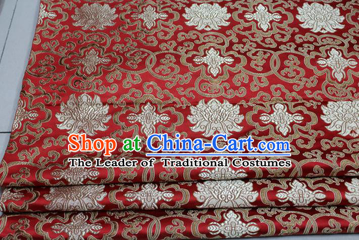 Chinese Traditional Royal Palace Golden Rich Flowers Pattern Red Brocade Cheongsam Fabric, Chinese Ancient Costume Satin Hanfu Tang Suit Material