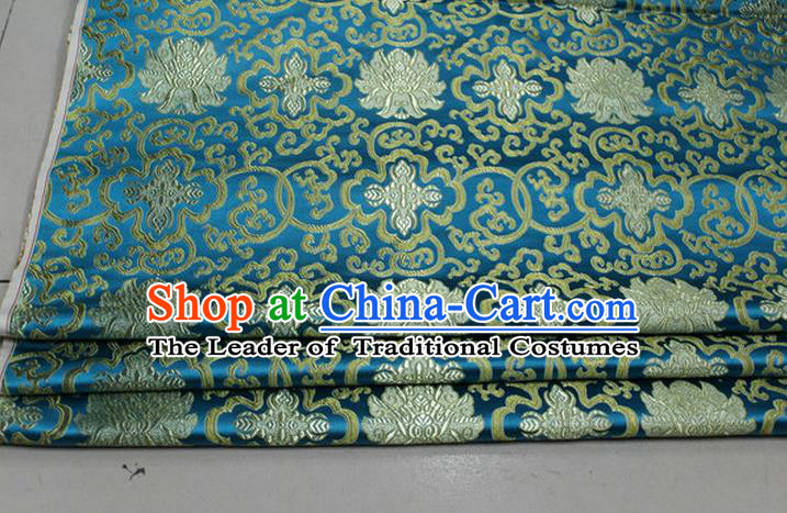 Chinese Traditional Royal Palace Golden Rich Flowers Pattern Lake Blue Brocade Cheongsam Fabric, Chinese Ancient Costume Satin Hanfu Tang Suit Material
