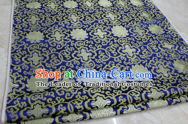 Chinese Traditional Royal Palace Golden Rich Flowers Pattern Royalblue Brocade Cheongsam Fabric, Chinese Ancient Costume Satin Hanfu Tang Suit Material