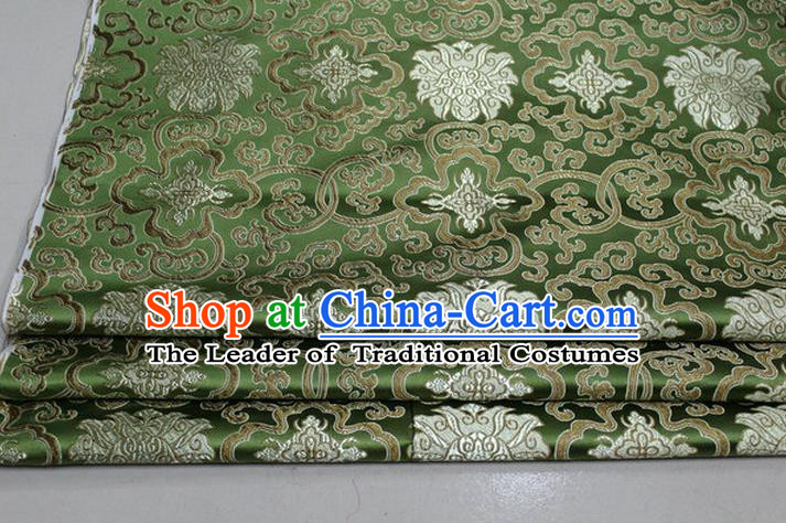 Chinese Traditional Royal Palace Golden Rich Flowers Pattern Olive Green Brocade Cheongsam Fabric, Chinese Ancient Costume Satin Hanfu Tang Suit Material