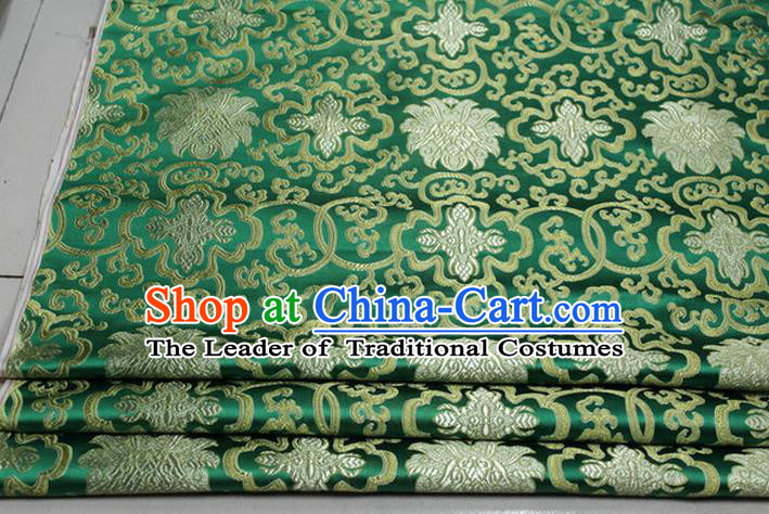 Chinese Traditional Royal Palace Rich Flowers Pattern Green Brocade Cheongsam Fabric, Chinese Ancient Costume Satin Hanfu Tang Suit Material