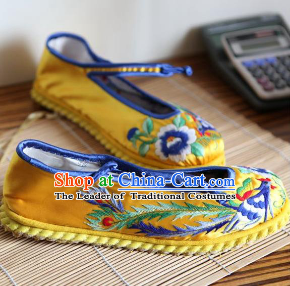 Traditional Chinese Ancient Princess Shoes Yellow Cloth Embroidered Shoes, China Handmade Embroidery Peony Hanfu Shoes for Women