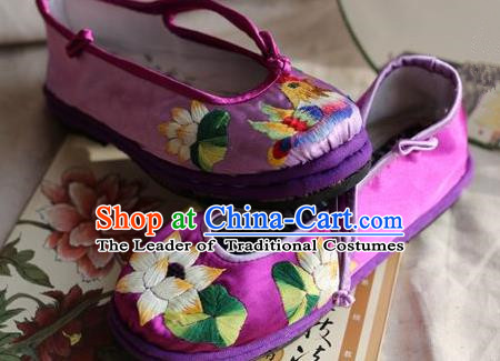 Traditional Chinese Ancient Princess Shoes Purple Cloth Embroidered Shoes, China Handmade Embroidery Lotus Hanfu Shoes for Women