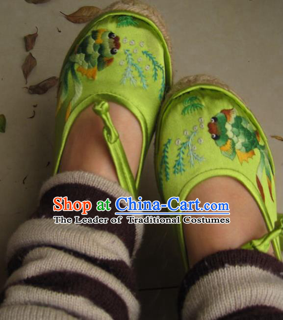 Traditional Chinese Ancient Princess Shoes Green Cloth Embroidered Shoes, China Handmade Embroidery Hanfu Shoes for Women
