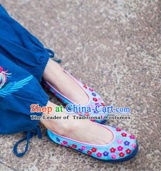 Traditional Chinese Ancient Princess Shoes Blue Cloth Embroidered Shoes, China Handmade Embroidery Flowers Hanfu Shoes for Women