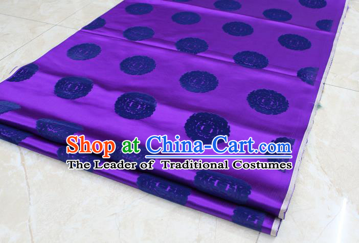 Chinese Traditional Royal Palace Longevity Pattern Purple Brocade Mongolian Robe Fabric, Chinese Ancient Costume Satin Hanfu Tang Suit Material