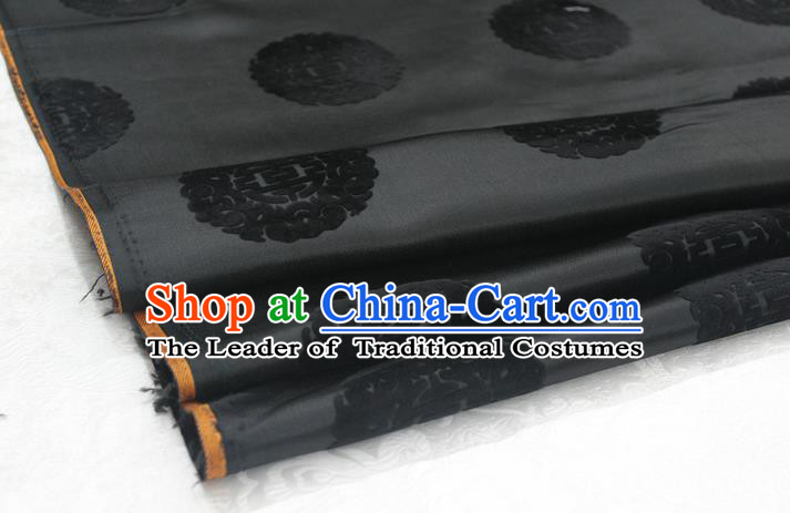 Chinese Traditional Royal Palace Longevity Pattern Black Brocade Mongolian Robe Fabric, Chinese Ancient Costume Satin Hanfu Tang Suit Material