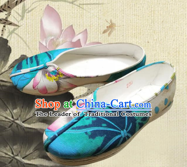 Traditional Chinese Ancient Princess Wedding Linen Shoes, China Handmade Printing Lotus Hanfu Shoes for Women