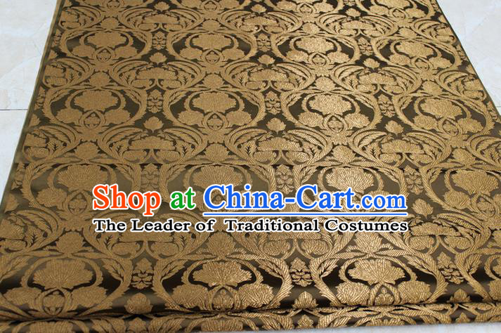 Chinese Traditional Royal Palace Pattern Bronze Brocade Mongolian Robe Tibetan Robe Fabric, Chinese Ancient Costume Satin Hanfu Tang Suit Material