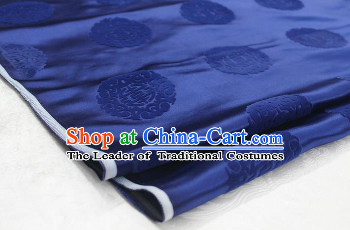 Chinese Traditional Royal Palace Longevity Pattern Deep Blue Brocade Mongolian Robe Fabric, Chinese Ancient Costume Satin Hanfu Tang Suit Material