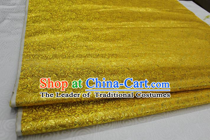 Chinese Traditional Royal Palace Pattern Cheongsam Golden Brocade Fabric, Chinese Ancient Costume Satin Hanfu Material