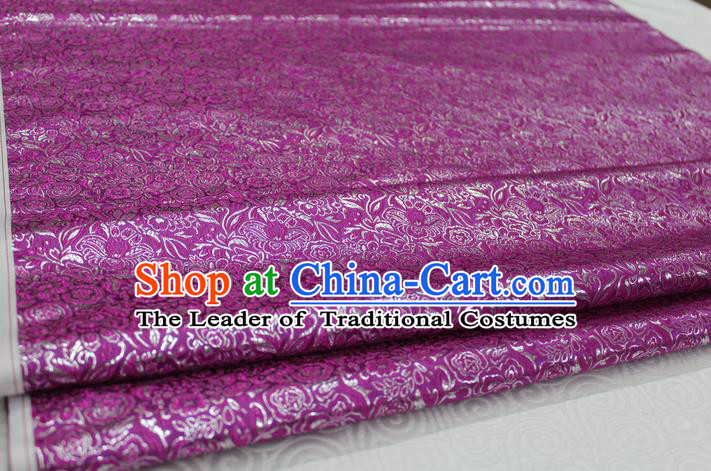 Chinese Traditional Royal Palace Pattern Cheongsam Amaranth Brocade Fabric, Chinese Ancient Costume Satin Hanfu Material