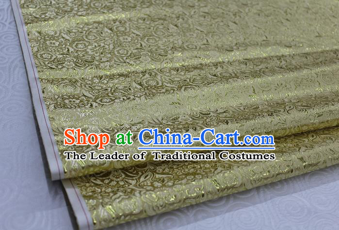 Chinese Traditional Royal Palace Pattern Cheongsam Yellow Brocade Fabric, Chinese Ancient Costume Satin Hanfu Material
