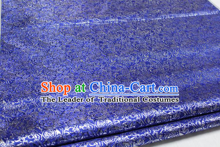 Chinese Traditional Royal Palace Pattern Cheongsam Royalblue Brocade Fabric, Chinese Ancient Costume Satin Hanfu Material