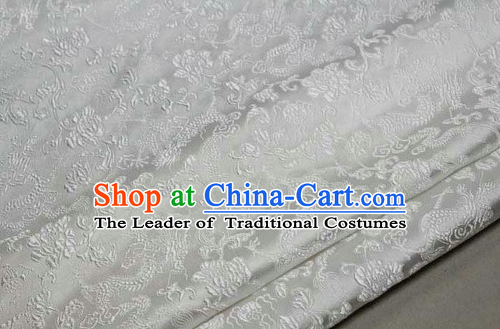 Chinese Traditional Royal Palace Dragons Pattern Tang Suit White Brocade Fabric, Chinese Ancient Costume Satin Hanfu Mongolian Robe Material