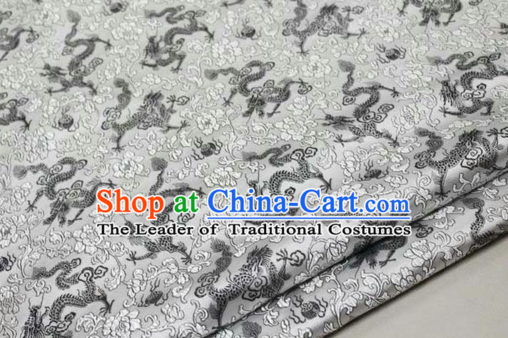 Chinese Traditional Royal Palace Black Dragons Pattern Tang Suit White Brocade Fabric, Chinese Ancient Costume Satin Hanfu Mongolian Robe Material