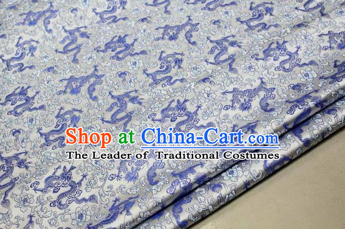 Chinese Traditional Royal Palace Blue Dragons Pattern Tang Suit White Brocade Fabric, Chinese Ancient Costume Satin Hanfu Mongolian Robe Material