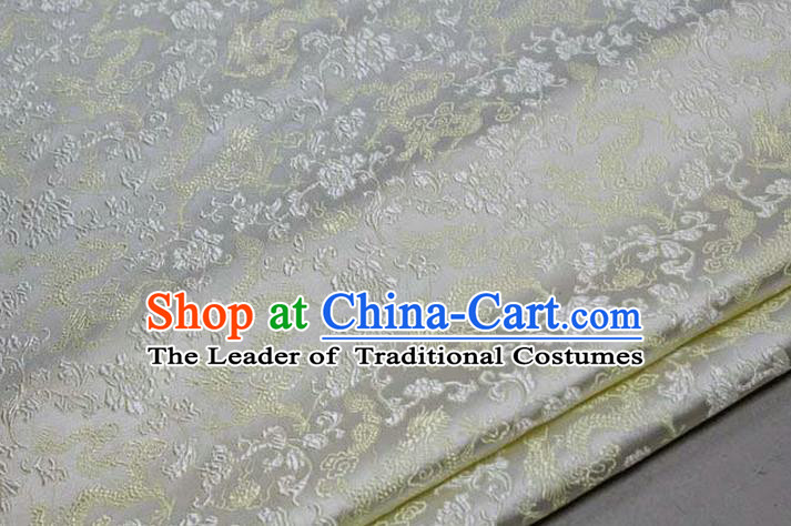 Chinese Traditional Royal Palace Yellow Dragons Pattern Tang Suit White Brocade Fabric, Chinese Ancient Costume Satin Hanfu Mongolian Robe Material